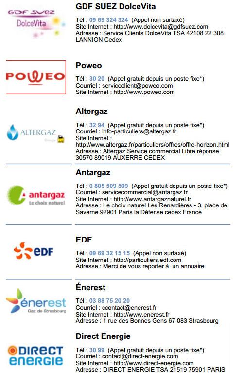 fournisseurs gaz naturel
